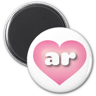 Arkansas pink fade heart - mini love 6 cm round magnet
