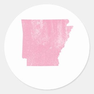 Arkansas Pink Vintage Grunge Classic Round Sticker