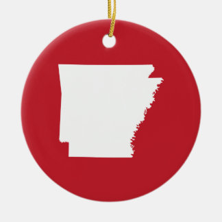 Arkansas Red and White Christmas Ornament