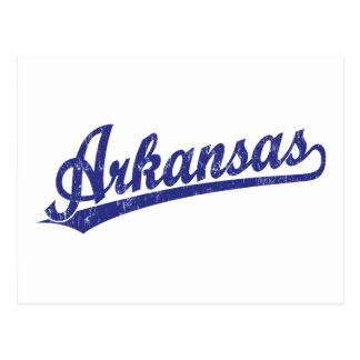 Arkansas script logo in blue postcard