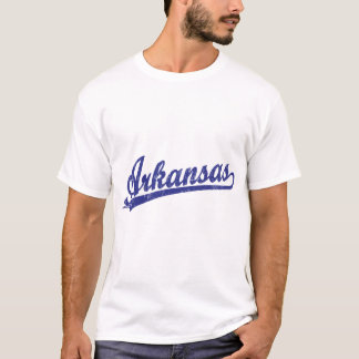 Arkansas script logo in blue T-Shirt