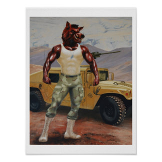 Arkansas Soldier Hog Razorback Military Poster
