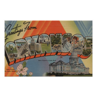 Arkansas (State Capital) - Large Letter Scenes Poster