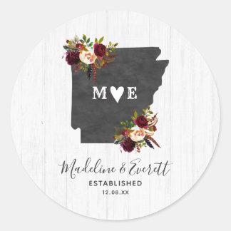 Arkansas State Destination Rustic Monogram Wedding Classic Round Sticker