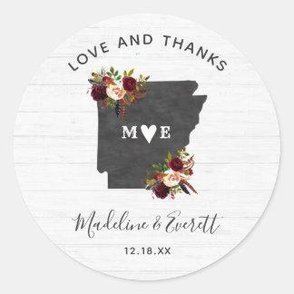 Arkansas State Destination Wedding Thank You Classic Round Sticker