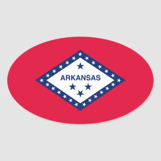Arkansas State Flag Design Oval Sticker