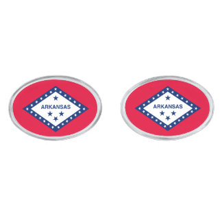 Arkansas State Flag Design Silver Finish Cufflinks