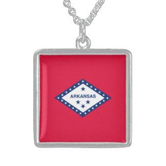 Arkansas State Flag Design Square Pendant Necklace
