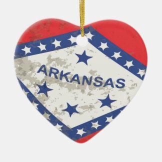 Arkansas State Flag Grunge Christmas Ornament