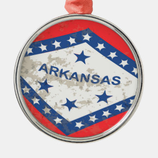 Arkansas State Flag Grunge Silver-Colored Round Decoration