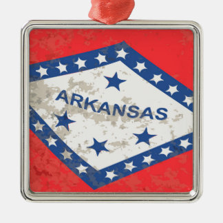 Arkansas State Flag Grunge Silver-Colored Square Decoration