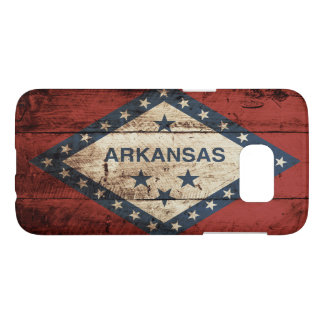 Arkansas State Flag on Old Wood Grain