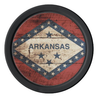 Arkansas State Flag on Old Wood Grain Poker Chip Set