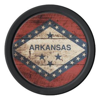 Arkansas State Flag on Old Wood Grain Poker Chips