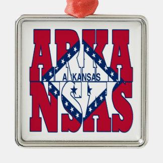 Arkansas state flag text christmas ornament