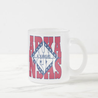 Arkansas state flag text frosted glass coffee mug