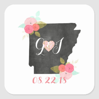 Arkansas State Floral Monogram Wedding Initials Square Sticker