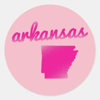 Arkansas state in pink classic round sticker