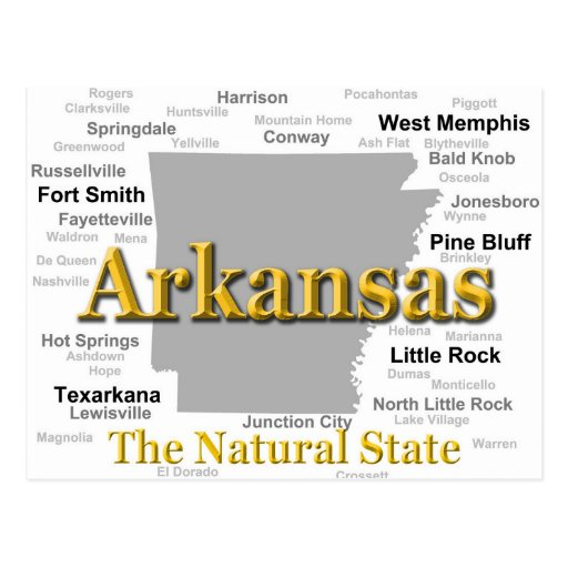 Arkansas State Pride Map Silhouette Post Card