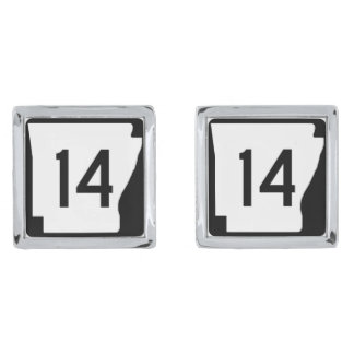 Arkansas State Route 14 Silver Finish Cuff Links