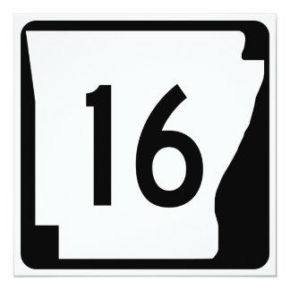 Arkansas State Route 16 13 Cm X 13 Cm Square Invitation Card
