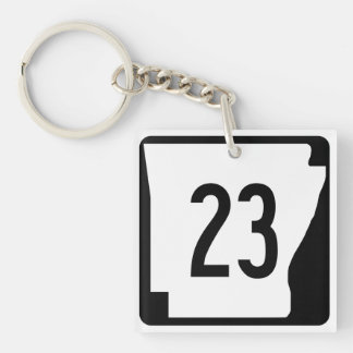 Arkansas State Route 23 Double-Sided Square Acrylic Key Ring