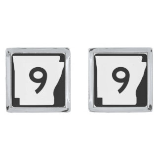 Arkansas State Route 9 Silver Finish Cuff Links