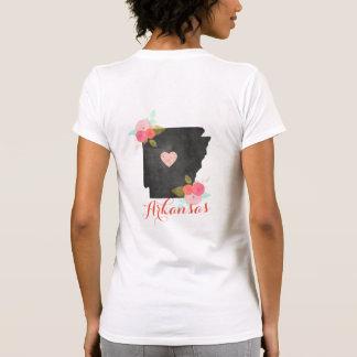 Arkansas State Watercolor Floral & Heart Monogram T-Shirt