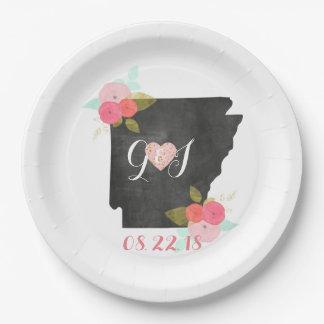 Arkansas State Watercolor Floral Monogram Wedding Paper Plate