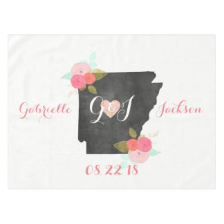 Arkansas State Watercolor Floral Monogram Wedding Tablecloth