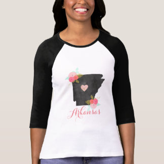 Arkansas State Watercolor Floral & Moveable Heart T-Shirt
