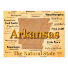 Arkansas Vintage Style Map Postcard