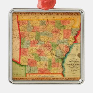 ArkansasPanoramic MapArkansas Silver-Colored Square Decoration