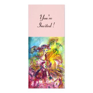 """ARLECCHINA VIOLINIST  Mardi Gras Masquerade Party 4"""" X 9.25"""" Invitation Card"""