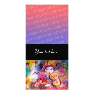 ARLECCHINO AND COLOMBINA pink red Customised Photo Card