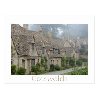 Arlington Row, Bibury with text postcard