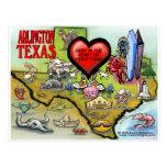 Arlington Texas Cartoon Map Postcard