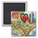 Arlington Texas Cartoon Map Square Magnet