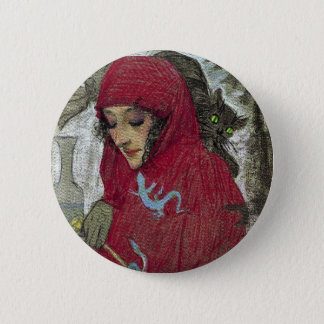 Arllaw, The Writing Witch. 6 Cm Round Badge