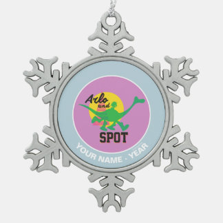 Arlo And Spot Sunset Snowflake Pewter Christmas Ornament