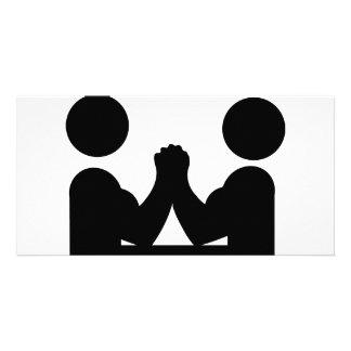 arm wrestling icon photo greeting card