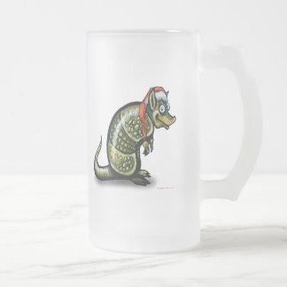 Armadillo Christmas Frosted Glass Beer Mug