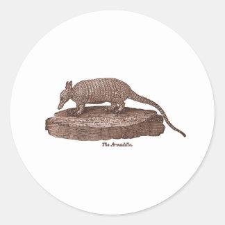 Armadillo Lithograph Round Sticker