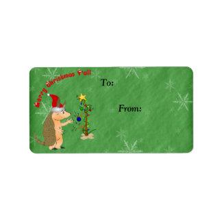 Armadillo Merry Christmas Gift Label