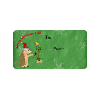 Armadillo Merry Christmas Gift Label Address Label