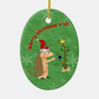 Armadillo Merry Christmas Ornament