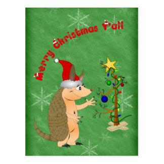 Armadillo Merry Christmas Postcard
