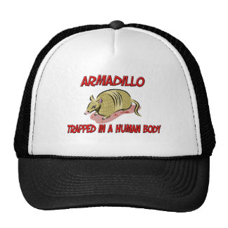 Armadillo trapped in a human body cap