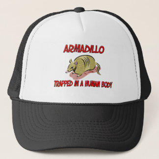 Armadillo trapped in a human body trucker hat