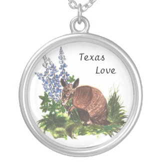 Armadillo with Bluebonnets Necklace